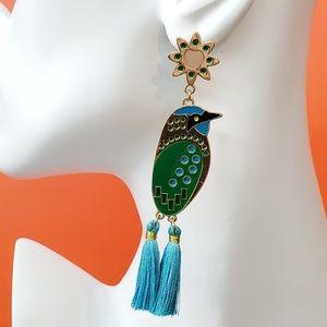 Blue Green Bird Earrings Tassel Droop Stud
